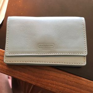 Used Small Light  Blue Leather Coach Wallet